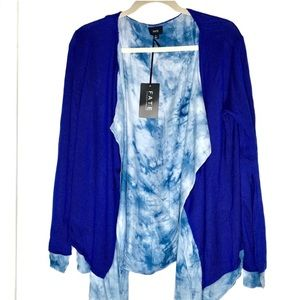 FATE royal blue with tie dye cardigan Sz S NWT